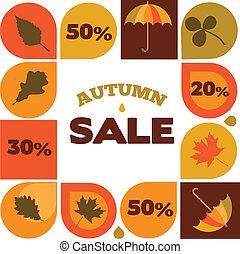 seizoenen, iconen, verkoop, illustratie, herfst, korting