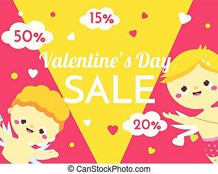 seizoenen, schattig, aanbod, promo, valentines, verkoop, dag, characters., cupids, achtergrond, spandoek, spotprent