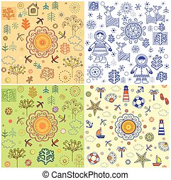 seizoenen, textiel, weefsel, kaart, papier, model, abstract, achtergronden, verzameling, uitnodiging, omhulsel, web ontwerp, behang