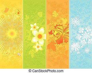 seizoenen, vier, spandoek, achtergronden