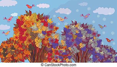seizoenen, winter, wordt, -, bomen, herfst, spandoek