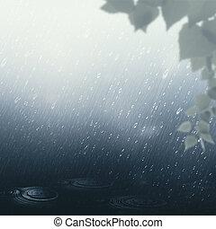 seizoenen, zomer, abstract, achtergronden, regen