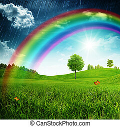 seizoenen, zomer, beauty, regenboog, achtergronden, ontwerp, jouw