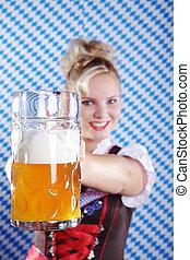 sejdel, öl, kvinna, bayersk, höjer
