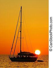 sejl båd, solnedgang, kata, strand, phuket
