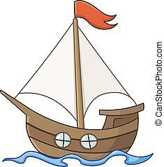 sejlbåd, cartoon