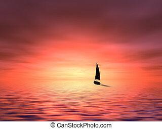 sejlbåd, ind, solnedgang