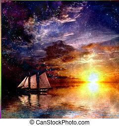 sejlbåd, solnedgang
