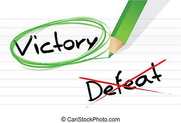sejr, kontra, nederlag, udvælgelse