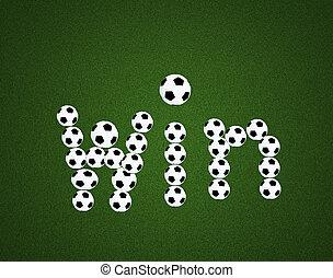 sejre, meddelelse, på, soccer felt, centrum, og, bold, top udsigt, baggrund