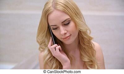 sejt, beszéd, nő, fiatal, telefon