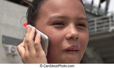sejt, használ, gyermek, telefon