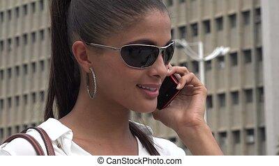 sejt, használ, nő, telefon