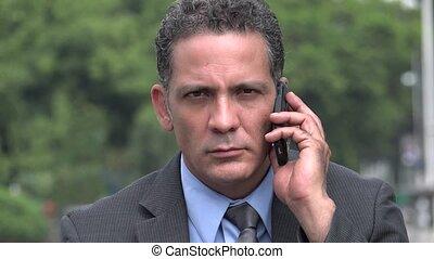 sejt, súlyos, üzletember, használ, telefon