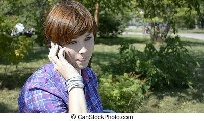 sejt telefon, nő, fiatal, beszéd