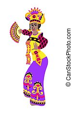 sekar, plano, bailarín, mujer, amaestrado, bali, estilo, ...