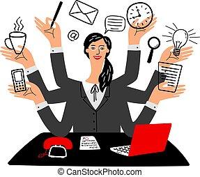 sekretær, multy, opgave, pige, cartoon