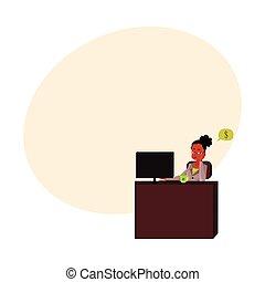 sekretarka, biuro, posiedzenie, myślenie, pieniądze, młody, kobieta interesu, biurko