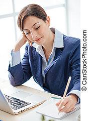 sekreterare, noteringen, anteckningsbok, skrift