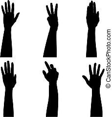 seks, hånd, siloer