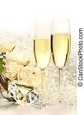 sektfl�ten, bereit, für, wedding, festlichkeiten