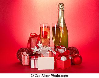 sektflasche, brille, geschenk boxt, und, weihnachten, spielzeuge