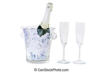 sektflasche, und, glas, freigestellt, weiß