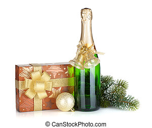 sektflasche, weihnachtsgeschenk, kasten, dekor, und, tanne