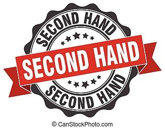 sekunde, siegel, zeichen., hand, stamp.