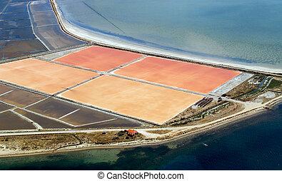 sel, aérien, étangs, évaporation