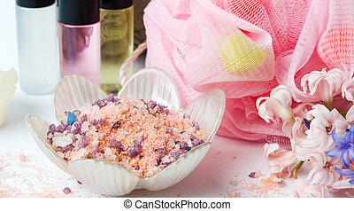sel bain, à, éponge, et, huiles essentielles