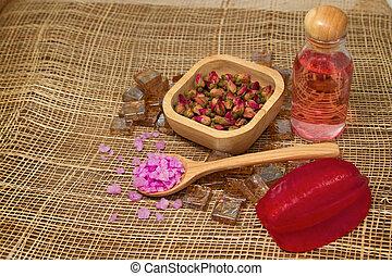 sel bain, et, essentiel, rose, huiles