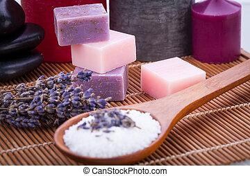 sel, lavande, fait main, savon, wellness, spa, bain