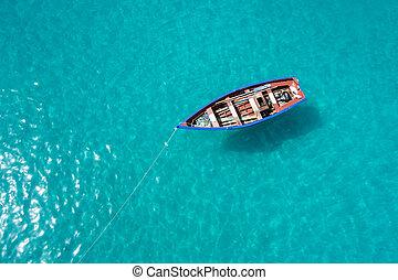sel, -, traditionnel, maria, bateau, île, cabo, pêcheur, santa, cap vert