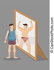 selbst, spiegel, abbildung, bodybuilder, muskulös, karikatur...