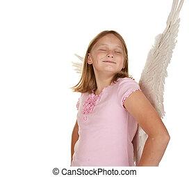 selbstgefällig, engelchen, fee, m�dchen, mit, flügeln
