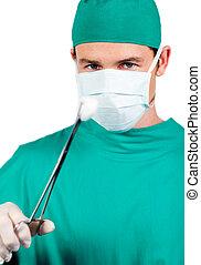 selbstsicher, zange, chirurgisch, besitz, chirurg, mann