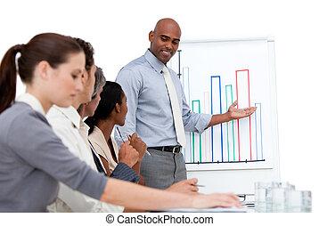 selbstsicherer manager, präsentieren, a, tabelle, erklären, der, ergebnisse, zu, seine, mannschaft, in, a, firma