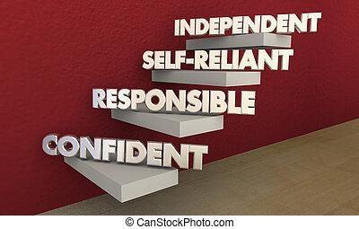 selbstständig, verantwortlich, abbildung, sicher, schritte, selbständig, 3d