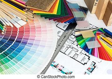 seleção, de, cores, e, materiais, para, renovação lar