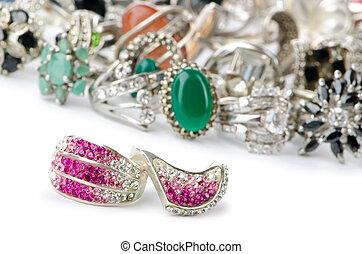 seleção, de, muitos, precioso, anéis