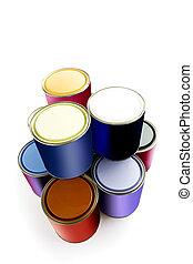 seleção, de, pintura, latas