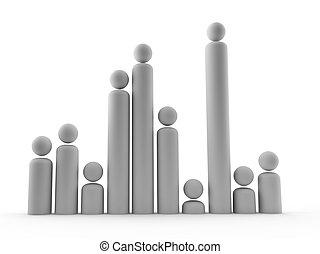 seleção, semelhante, mostrar, popula, pessoas, crescimento,...