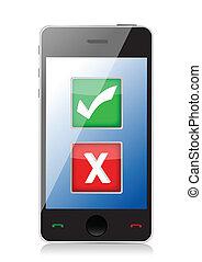 seleção, telefone móvel, marcas, x, cheque