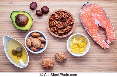 selección, alimento, grasas, 3, omega, fuentes, no saturado