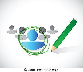 selección, arriendo, concepto, diseño, ilustración