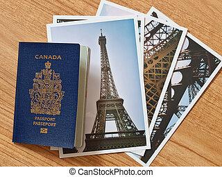 selección, canadiense, de madera, viaje, parisiense, fotos, pasaporte, tabla
