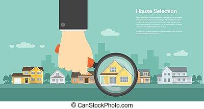 selección, casa, concepto
