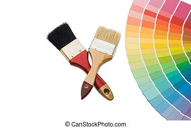 selección, color, aislado, plano de fondo, blanco, guía