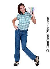 selección, color, valor en cartera de mujer, muestras